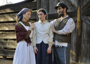 Paula Markovitz (L-R) as Golde, Jo-Jo Steine as Hodel and Barry Mann as Tevye. PHOTO / MJCCA