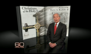 "Reporter Bob Simon on the controversial CBS ""60 Minutes"" Holy Land Christians program. PHOTO / CBS"