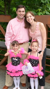 Dan and Jessica Gordon with their twin daughters, Lexie and Macey.