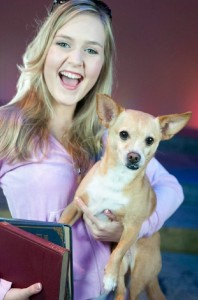 "Kaitlin Reynell as ""Elle Woods"" and Jake as ""Bruiser"". PHOTO / Karen Rooker"