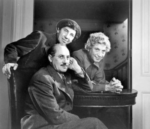 The Marx Brothers (L-R): Chico, Harpo, and Groucho (sitting). Photo / Yousuf Karsh via Wikimedia Commons.