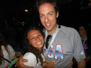 Halle Friedman and Garrett Weber-Gale share a special moment during the 19th World Maccabiah Games in Israel.