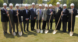Donning hardhats and wielding shovels for a ceremonial groundbreaking before the real work begins are (L-R) Berman Commons project team Joe Rubin, Bob London and David Weiss; Dunwoody Mayor Pro Tem Denis Shortal; MJCCA President Steven Cadranel; State Senator Fran Millar; WBJH Past President Steve Berman; WBJH President Jerry Weiner; City Councilman Terry Nall; Capital Campaign Chair Fred Halperin and WBJH President-Elect Steve Merlin