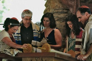 Parmet Family takes part in service at the Zaban Chapel at Camp Barney Medintz.