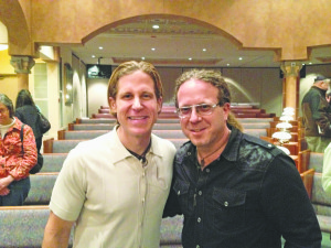 Rick Recht (left) and Bram Bessoff after Friday night services at Temple Beth Tikvah.