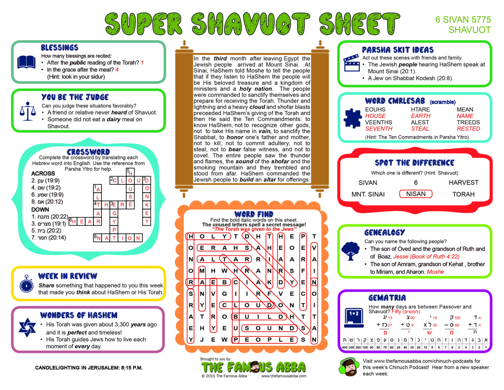 Super Shavuot Sheet - 5775 (English) Answer Sheet
