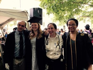 Emory EMS Director Rachel Barnhard celebrates commencement in May with new Emory graduates.