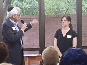 Steve Berman, a member of the Atlanta Council of the New Israel Fund, asks a question of NIF's Libby Lenkinski during a NIF event at Congregation Shearith Israel on June 8. (photo by Benjamin Kweskin)