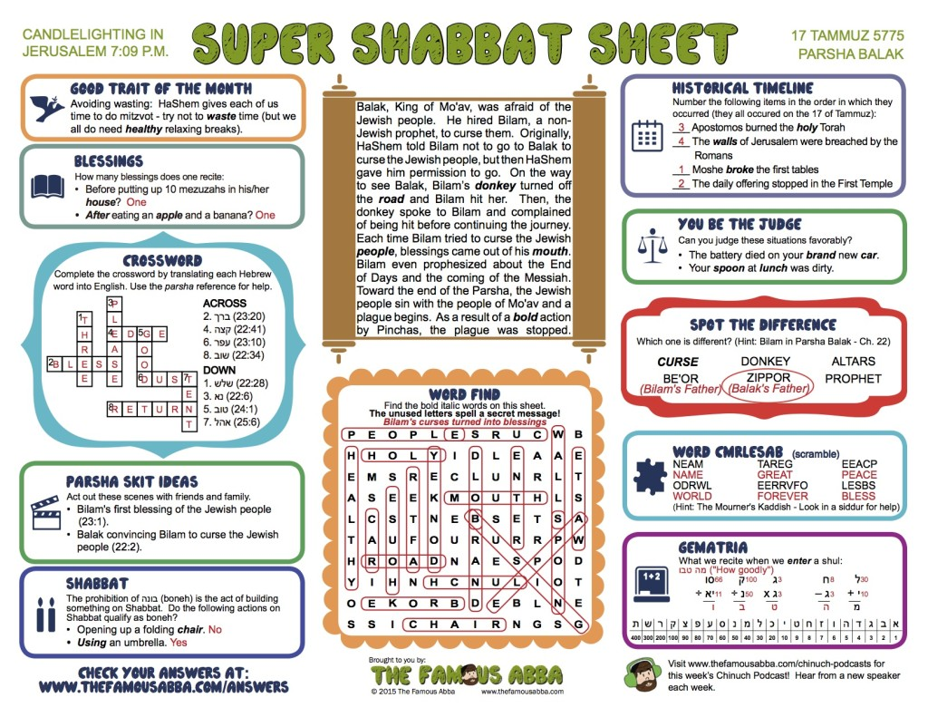 The answers for the Super Shabbat Sheet for Balak