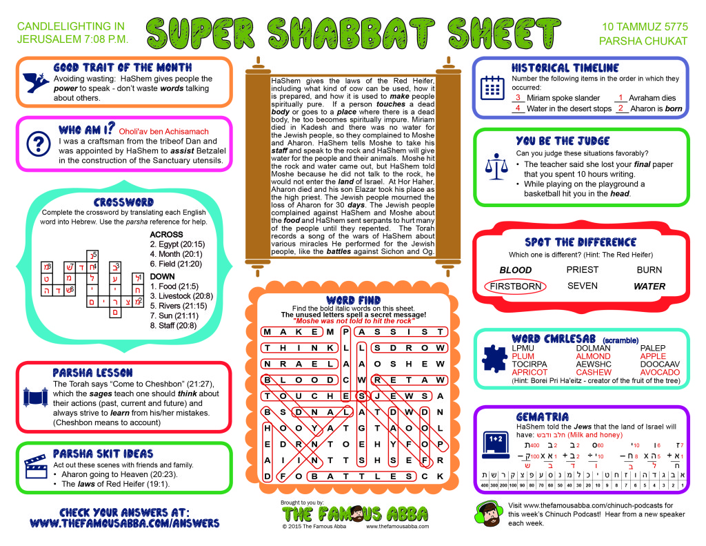 Super Shabbat Sheet answers for Chukat