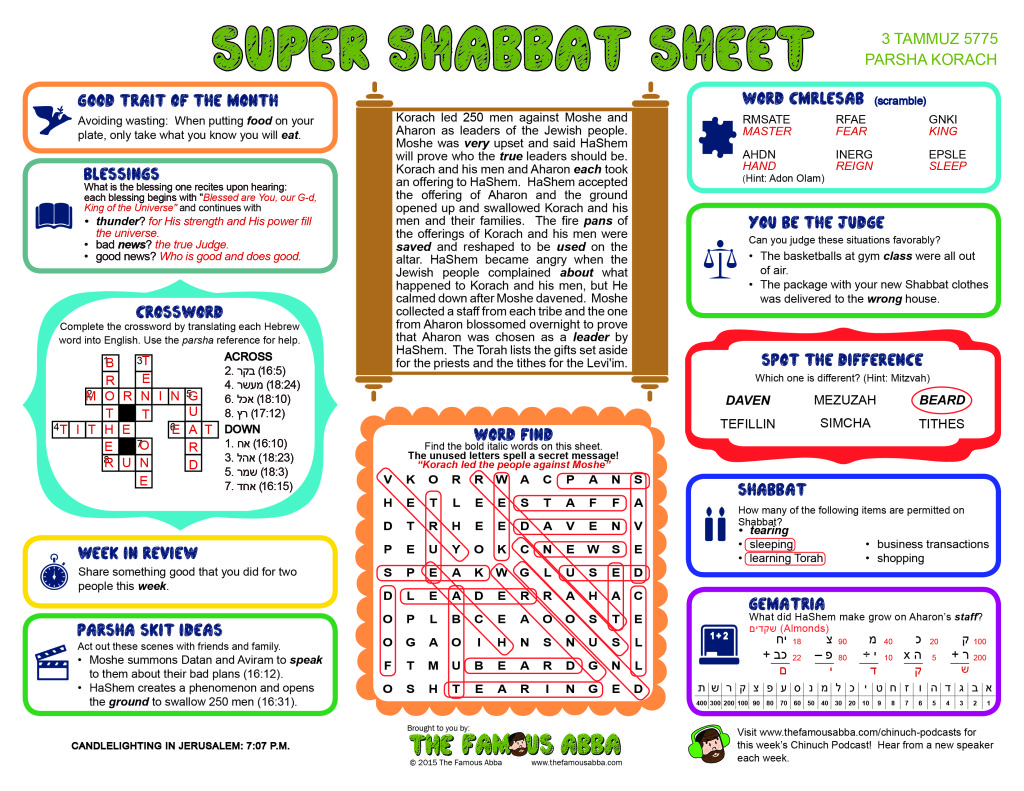 Super Shabbat Sheet answers for Korach