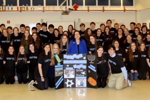 Varda Cheskis Sauer and the 2014-15 North Springs Jewish Culture Club pose for an official photo in March.