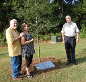 Rabbi Shalom Lewis, Leo Frank commemoration committee member Delores Lazerson and Rabbi Albert Slomovitz stand with the tree and memorial marker being dedicated Sunday at Congregation Etz Chaim as part of its centennial memorial event at 2 p.m. (photo by Michael Jacobs)