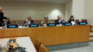 Rabbi Analia Bortz appears as part of the panel of experts at a forum on anti-Semitism at the United Nations on Aug. 11.