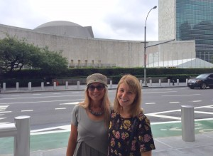 Congregation Or Hadash Rabbi Analia Bortz and daughter Tamar visit the United Nations on Aug. 11 for a forum on anti-Semitism.