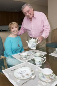 Sam Eckstein serves wife Marilyn with the tea set he brought out of China as Mao's forces advanced in 1948.