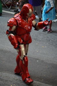 Central to Marvel's Avengers, Ironman powers his way through the parade.
