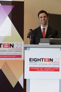 Eighteen:22 founder Robert Saferstein speaks at the gathering in Salzburg.