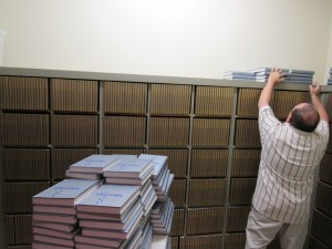 Temple Sinai has 1,700 copies of the mahzor — 3,400 books — thanks to a donation from the children of George and Eva Stern.
