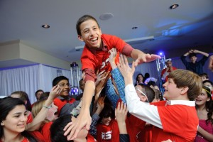 Ryan Danz is the highflying center of attention at his bar mitzvah celebration.