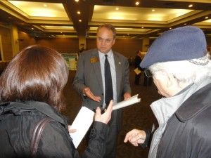 County Commissioner Jeff Rader discusses the LaVista-Biltmore project with Jewish neighbors at the open house Oct. 27.