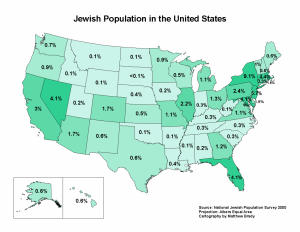 Percentage of Jews in the United States from the 2000 census.