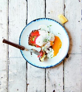 Zucchini Latkes Eggs Bennie With Dill Labane Sauce is a colorful fried treat worth eating any time of year.