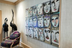 """Gary Bodner's favorite among his works at his home is """"Mug Shots,"""" which interprets facial lines."""