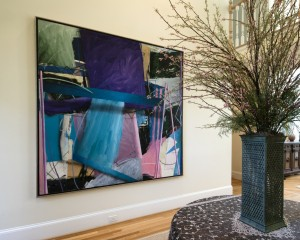 "Richard Johnson's vibrant abstract ""Perspective"" graces the Bodners' front entrance."