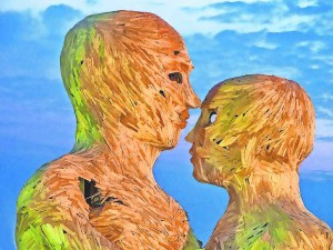 Frank Joseph says Burning Man in 2014, including these two wooden heads, was a turning point for him to have fun with his photography.