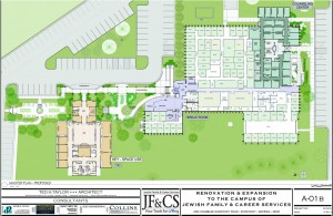 The master plan for the new JF&CS campus shows the new Tools for Independence WORKS building in orange, the revamped clinical services space in light blue at the top right, and the new entrance and Gathering Place in blue facing the parking lot. Chamblee-Dunwoody Road is just off the bottom of the plan.