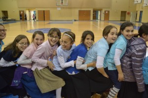 Third-, fourth- and fifth-grade girls at Torah Day School seem to enjoy the Playworks program.