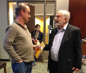 Photo by Leah R. Harrison Alfred Uhry (right) speaks after his Emory talk with AJT contributor Dave Schechter, who had interviewed the playwright over the summer for an article about the centennial of the Leo Frank lynching.