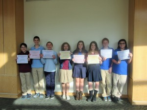 The AJA Junior High Science Fair winners are (from left) Ari Slomka, Eitan Linsider, Zach Mainzer, Sophie Steinberg, Wade Rabinowitz, Shayna Shapiro, Matthew Minsk and Gabriel Weiss.
