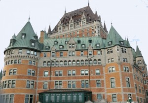 As seen from the Dufferin Terrace, the Chateau Frontenac is an imposing structure.