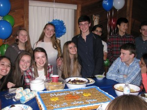 The pre-Israel farewell party includes (back row, from left) Emily West, Olivia Woodman, Chris Dymanus, Kenny Chian and Benjamin Ladinsky and (front row, from left) Mallorie Melendez, Elizabeth Courtney, Allison Weber, Carlie Ladinsky, Ross Brill, Chandler Deaver and Srija Tummalapally.