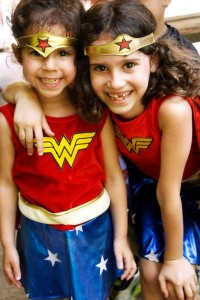 Hannah R. (left) and Melissa R. are ready to save the world as double Wonder Women.