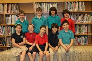 The Davis Academy Lower School's nine first-place winners are (back row, from left) Adam Tepper, Jack Anderson, Connor Swislow and Jake Martin and (front row, from left) Julia Moss, Sylvie Bella Brown, Charlie Berss, Jack Baylin and Maccabee Anderson.