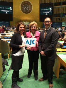 Photo by Simone Wilker AJC Atlanta representatives Jen Pardee (left), the development director; Sylvia Gorg, a board member; and Dov Wilker, the executive director, attend the International Holocaust Remembrance Day ceremony at the United Nations on Jan. 27.