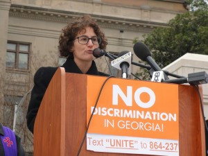 """Rabbi Pamela Gottfried says she """"cannot sit idly by while my neighbors are threatened."""" (Photo by Kevin Madigan)"""