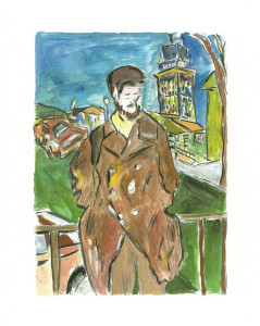 "Bob Dylan's contributions to the exhibit include ""Man on a Bridge in a Brown Coat."""