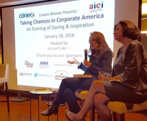 Becky Blalock (left) and Kris Robinson offer advice about taking chances as women in the corporate world at the first Conexx Women event Jan. 28.