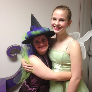 Sadie Levy (right) spends some time backstage with one of her new friends, Katie Rouille.