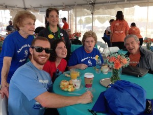 Hanging out in the Hunger Walk Champion's Tent on Sunday, March 13, are (standing) Sally Kaplan and daughter Bebe Kaplan and (sitting) grandson Jonathan Kaplan, who flies in from Texas for the walk each year, granddaughter Rachel Kaplan, in from Athens, and Lisa and Philip Kaplan.