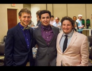 Sophomores Matthew Friedrich (left) and Josh Shapiro (right) flank junior Matthew Prater at the conference.