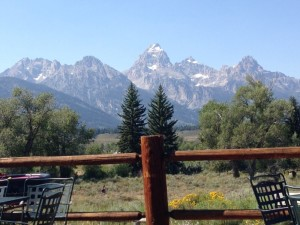 The deck at Dornan's provides an ideal view of the Tetons.