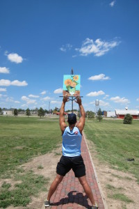 The worlds tallest Easel in Goodland Kansas is a breathtaking site. (That's me in the photo...)