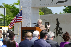 Israeli Ambassador Judith Varnai Shorer speaks at YomHashoah commemoration May 8 at the Marcus JCC.