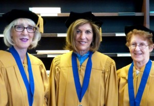 (From left) Simone Wilker joins classmates Gloria Supran and Rhoda Levine 50 years after their Emory graduation.