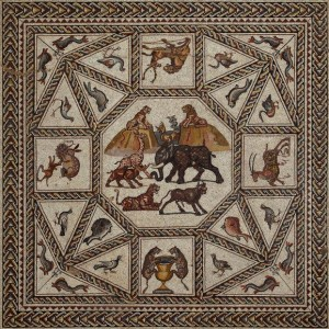 Photo courtesy of the Israel Antiquities Authority The central medallion of the Lod Mosaic features an array of exotic animals.